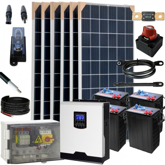 [KIT076] Kit aislada SolarPack OGP09 - 3,0kW 24V 9,5kW/dia 6,4 kWh Vivienda permanente - TECHNO SUN