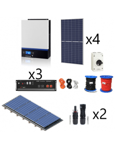 Kit solar aislada con litio Pylontech 7,2kWh 5000W 6600Wh/dia