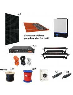 Kit solar aislada con litio Pylontech 5kW 4,8/6kWh 8,5kW/dia