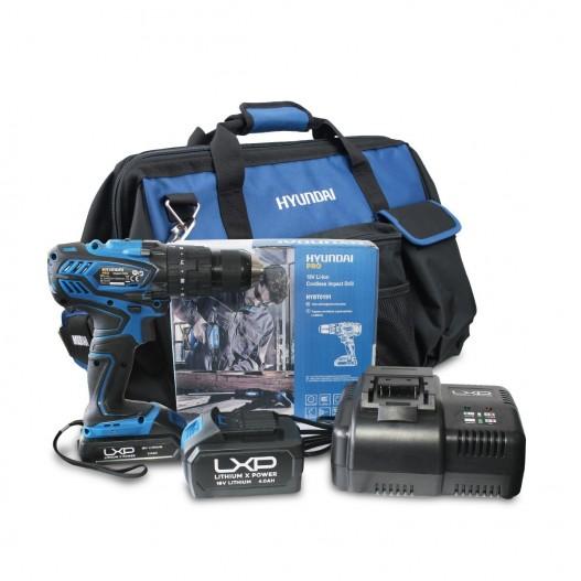 HY-COMBO-1-2 Taladro Percutor Hyundai + Batería 2Ah + Cargador + Bolsa