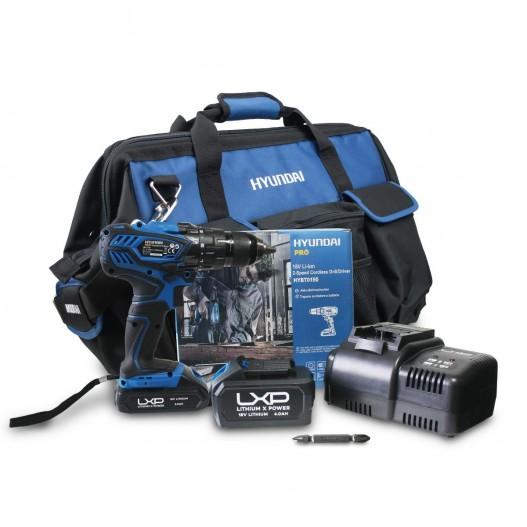 HY-COMBO-1-1 Conjunto Taladro Atornillador Hyundai + Batería 2Ah + Cargador + Bolsa
